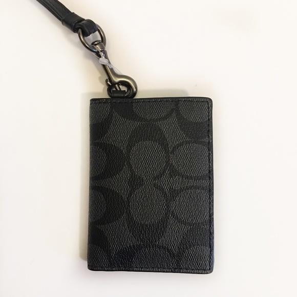 1f2713ee53 Coach ID Lanyard Holder Wallet Card Case Black NWT
